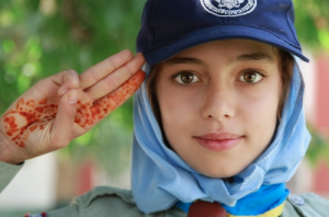 Afghanistan, girl, salute, Red Crescent